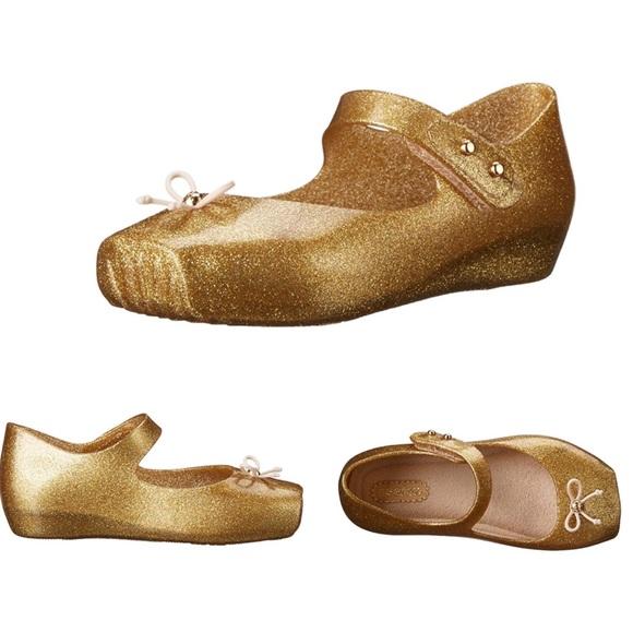 MINI MELISSA GOLD GLITTER Bow BALLET MaryJane Shoe